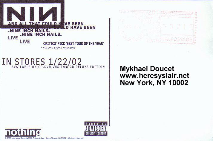 Aatchb Postcard Scans! - Published At The Nine Inch Nails Hotline